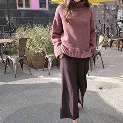 Hello sweety - Band-Waist Wool Blend Pants