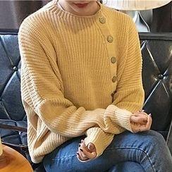 OCTALE - Button Neck Long Sweater