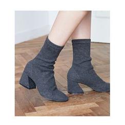 FROMBEGINNING - Cutout Chunky-Heel Short Boots