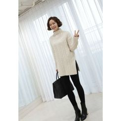 Lemite - High-Neck Cable-Knit Sweater