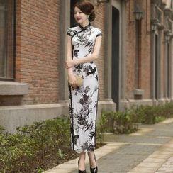Miss Four Qipao - Floral Print Maxi Cheongsam