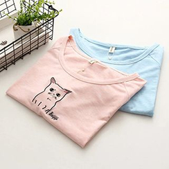 Angel Love - Cat Embroidered Short-Sleeve T-Shirt