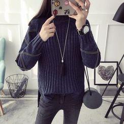 Qimi - Contrast Trim Mock Neck Sweater