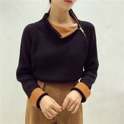Octavia - Color Block High Neck Sweater