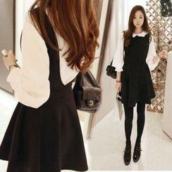 ANGELA - Set: 3/4-Sleeve Blouse + Sleeveless A-Line Dress