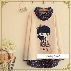 Fairyland - Long-Sleeve Girl Appliqué Floral Collar Top