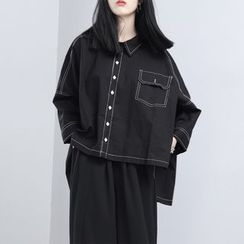 Sonne - Dip-Back Stitched Asymmetric Blouse