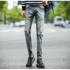 Consto - Distressed Washed Straight Leg Jeans