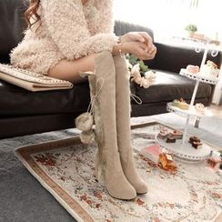 Pangmama - Heel Furry Over The Knee Boots