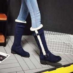 Pastel Pairs - Block Heel  Fleece Lined Tall Boots