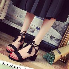 Yoflap - Lace-Up Block Heel Sandals