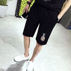 Ekinbrown - Printed Sweat Shorts