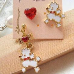 Fit-to-Kill - 3 pieces poodle with heart earrings