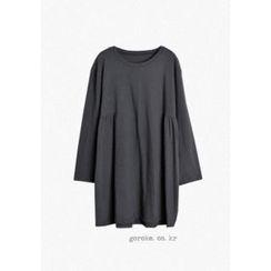 GOROKE - Round-Neck Shirred-Side T-Shirt Dress