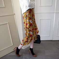 NIPONJJUYA - Drape-Front Floral Pattern Midi Skirt