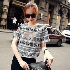 Sisi Fashion - Short-Sleeve Embellished Elephant Print T-Shirt