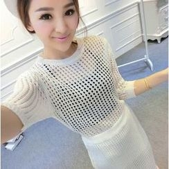 Ando Store - Set: 3/4-Sleeve Open-Knit Top + Skirt