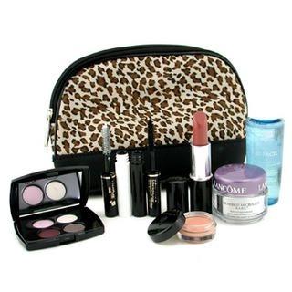 Lancome - Travel Set: Bi Facil + Renergie Cream + Lipstick + Cils Booster + Mascara + Eye Color Base + Eyeshadow + Bag