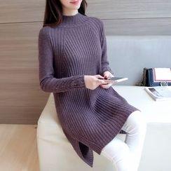 Ageha - 长袖开衩针织裙