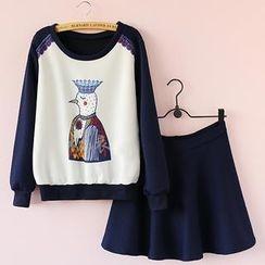 Munai - Set: Printed Panel Pullover + Embossed Skirt