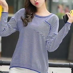 Eferu - Pinstriped Long Sleeve Knit Top