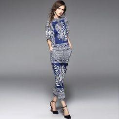 Y:Q - Set: Stand-Collar Printed Silk Top + Printed Silk Jogger Pants