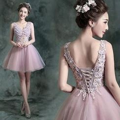 Angel Bridal - Sleeveless Embellished Mini Prom Dress
