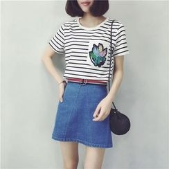 蘭芝 - 刺繡口袋條紋短袖T恤