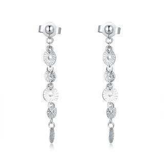 MaBelle - 14K White Gold Diamond Cut Textured Circle Disc Dangling Stud Earrings