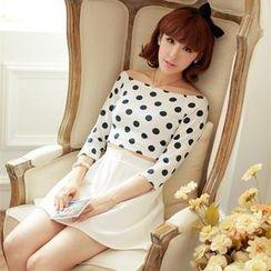 Porta - Set: Polka Dot Boat Neck T-Shirt + A-Line Skirt