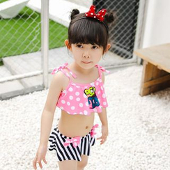 Goldlyre - Kids Set: Dotted Swim Top + Striped Swim Skirt