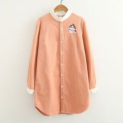 ninna nanna - Cat Embroidered Corduroy Long Shirt