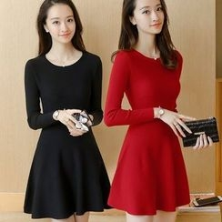 OGAWA - Long-Sleeve Knit A-line Dress