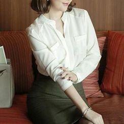 Eva Fashion - Open Placket Chiffon Shirt