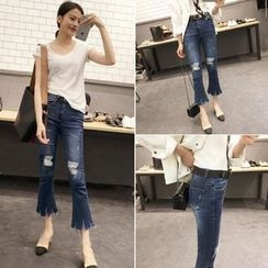 Jeans Kingdom - Distressed Boot Cut Cropped Jeans