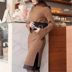 CHICLINE - Slit-Side Ribbed Knit Dress