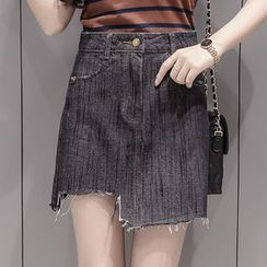 OGAWA - Asymmetric Denim A-line Skirt