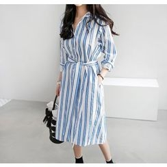 Miamasvin - Pinstriped Midi Shirtdress with Sash