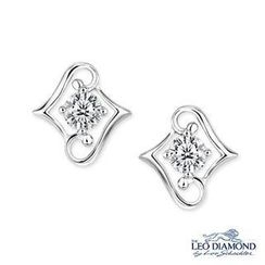 Leo Diamond - Beloved Collection - 18K White Gold Diamond Solitaire Double L-Shaped Earrings