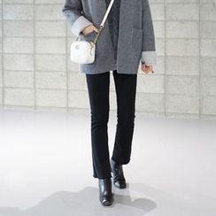 STYLEBYYAM - Brushed Fleece Fray-Hem Boot-Cut Pants