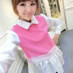 Ando Store - Inset Shirt Lace Chiffon Paneled Top