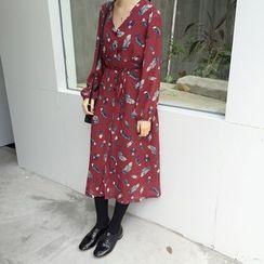 small dots - Floral Print V-neck Long-Sleeve Dress