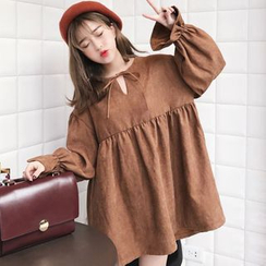 Miss Kekeli - 纯色领结长袖裙衣