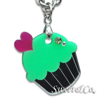 Sweet & Co. - Sweet&Co Mini Silver-Green Cupcake Crystal Necklace