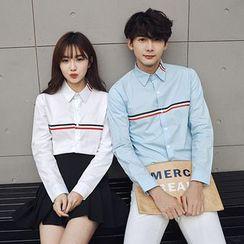 Je T'aime - Couple Matching Striped Long-Sleeve Shirt
