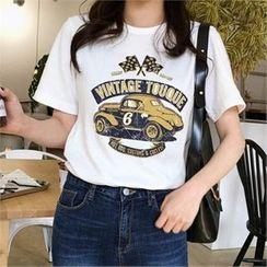 QNIGIRLS - Round-Neck Printed T-Shirt