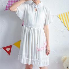 Moriville - Floral Print Ruffle Hem A-Line Dress