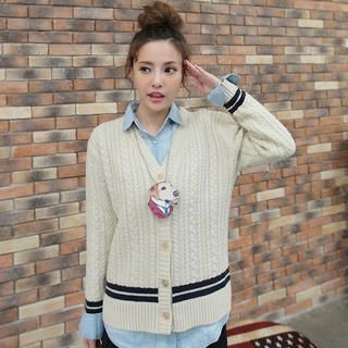 JK2 - Wool-Blend Striped-Trim Cable-Knit Cardigan