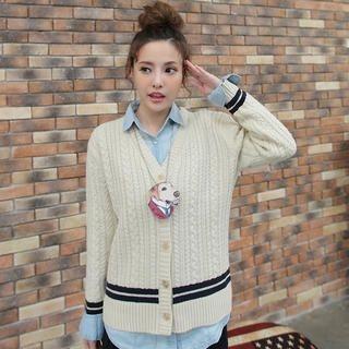 JK2 - Wool-Blend Striped-Trim Cable-Knit Cardigan