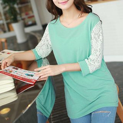 CLICK - 3/4-Sleeve Lace-Trim Top